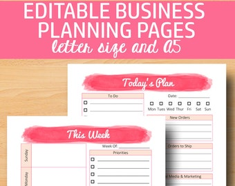 Direct Sales Planner A5, Business Planner Printable, Business Plan, Editable Direct Sales Printable, A5, Letter Size, Instant Download