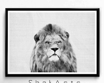 African Lion Print, Minimal Poster Art, Nursery Woodland Art, Minimalist Poster, Large Abstract Decor, Wall Hanging, Rustic Home Decor