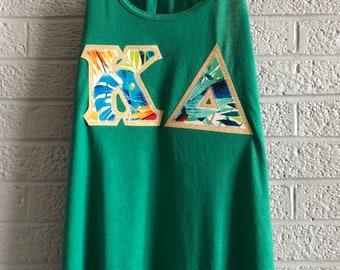 Kelly Green Bella Tank With Tropical Palm Print On Metallic Gold (307)