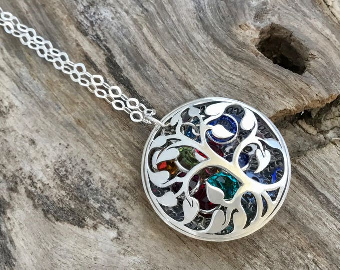 Grandma Birthstone Necklace | Family Tree Birthstone Necklace For Grandmother | Grandma Necklace | Christmas Gift For Grandmother