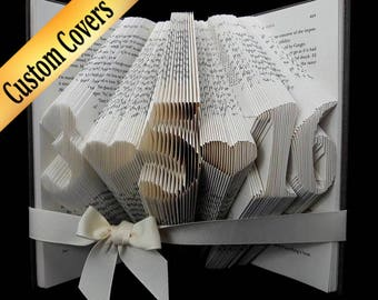 First Anniversary Gift, Anniversary Gift For Her, Paper Anniversary, Wedding Date Book, Anniversary Gift For her, Folded Book Art Sculpture