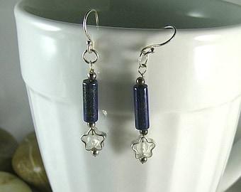 Star and Lapis Lazuli Tube Earrings - Egyptian Goddess Nut