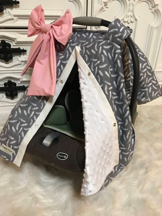carseat canopy Feather and Minky / car seat cover / nursing cover / carseat canopy / carseat cover
