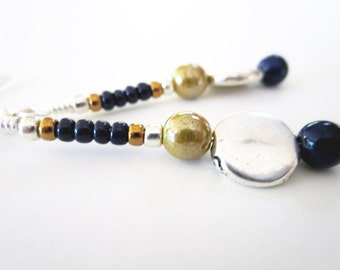 Navy and Gold Luster Earrings