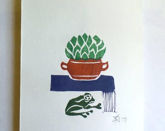 "Original Handmade Multi-color Linocut Print, 6"" x 8"", Small size Art, Hand-pulled print, cactus, frog, wall decor, minimal, new home gift"