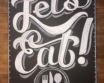 Let's Eat Restaurant Chalkboard sign