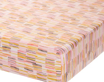 Fully Elastic Fitted Crib Sheet Multi Lines