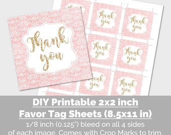 Thank You Party Favor Tags, Printable Thank You Favor Tags, Blush Pink Gold Glitter Bridal Baby Shower Birthday Party Decor Instant Download