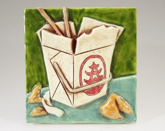 Ceramic Art Tile, CHINESE TAKE-OUT - Green, Wall Art, 4 x 4 Handmade Tile