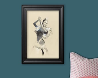 Flamenco dancer, drawing, watercolor and pastel, wall art, wall decoration