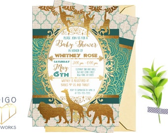 Teal and Gold Safari Baby Shower Invitation, African Animals Printable Party Invitation, Teal and Gold foil, Customized Digital Invite