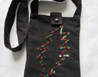 Handmade purse / shoulder bag  with sequin rainbow 13 point bolt  OOAK *twilightdance