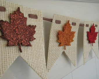Fall Burlap Banner - Leaves - Thanksgiving Decor - Glitter Banner - Fall Decor