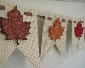 Fall Burlap Banner - Leaves - Thanksgiving Decor - Glitter Banner - Fall Decor