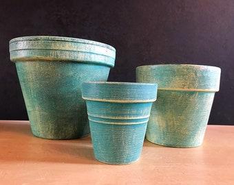 Turquoise Terra-cotta Pots set of 3