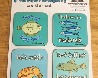 Punderwater! Coaster set, Funny drinks mat set, Fish gifts, Fun homeware, Cuttlefish, Mackerel, Minnow, Plaice, Funny coffee coasters, puns