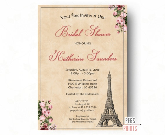 Paris bridal shower invitation printable parisian bridal filmwisefo