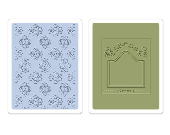 Sizzix Textured Impressions Embossing Folders 2PK - Rosebuds & Seed Packet Set 658457