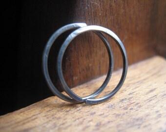 mens hoop earrings. dark silver niobium. hypoallergenic hoops.