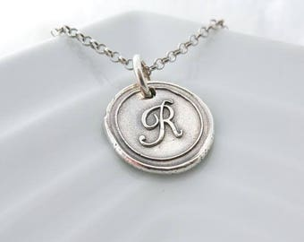 Letter R wax seal charm necklace, Silver wax seal pendant, vintage initial charm, wax seal jewelry, monogram charm, Initial jewelry
