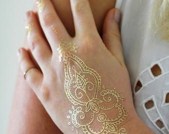 Gold henna temporary tattoo / bohemian temporary tattoo / henna style tattoo / boho gift / gold tattoo / flash tattoo / festival tattoo
