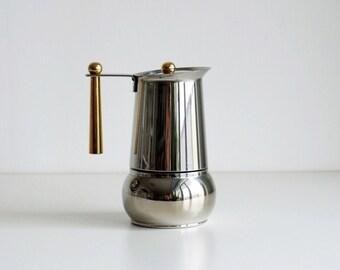 Stainless steel stovetop espresso maker, vintage Italian GB moka pot 6 demitasses, golden handle