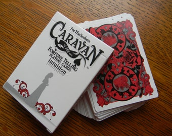 """Caravan of SEE'ers Fortune Telling Playing Cards - red """"intuition"""" deck with chart."""