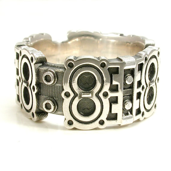 Engine Block Ring - Industrial Steampunk Sterling Silver