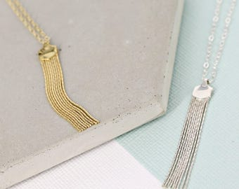 Gold tassel necklace • Silver tassel necklace • Layering necklace • Beautiful tassel necklace • Simple necklace • Necklace for women