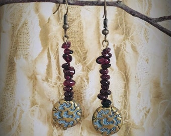 SOLD~ Earrings - Tumbled and polished tiny Garnet beads with Round Brass Bead By Brooke Baker