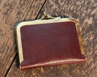 Vintage Mid Century Burgundy Leather Travel Size Sewing Kit
