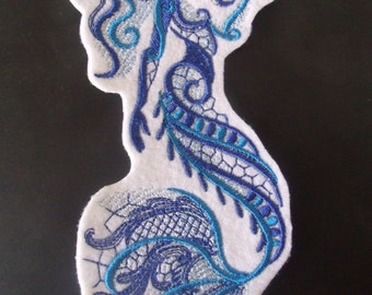 Aquarius Mermaid Embroidered Iron On Patch, Embroidered Patch, Embroidered Applique, Ocean Fantasy, Mythical Creature, Sea Siren, Sea Maiden