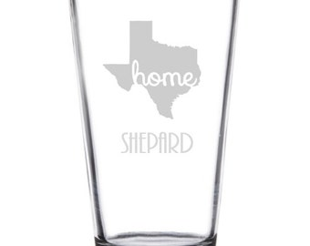 Texas Etched Pint Glass, Personalized Gift, Western Barware