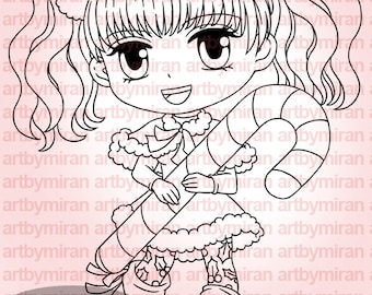 Digital Stamp - Candy Joy (#271), Christmas Digi Stamp, Coloring page, Printable Line art for Card and Craft Supply