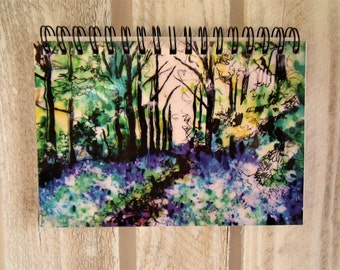 Bluebell Wood Spiral Bound Notebook - Bluebell Gift - Woodland Gift - Floral Notebook - Blue - Purple - Notepad - Pretty Notebook