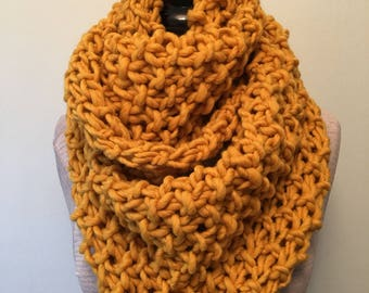 Mustard Chunky Knit Cowl - Infinity Scarf - Figure 8 Scarf - Hand Knit - Wool - Yellow Scarf - Scarf - Knit Wrap - Chunky Knit - Huge Knit