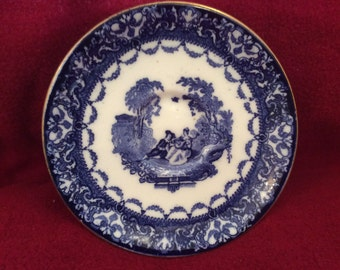 Royal Doulton Watteau Flow Blue Saucer