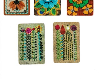 """Vintage """"FLOWER POWER"""" Assorted Flower / Floral Playing Cards / Swap Cards / Artist Trade Cards"""