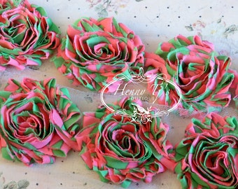 "1 ONE  yard Pink Green ZEBRA Stripes Print 2.5"" inch- Chiffon Shabby Rose Trim, Hair Bow. Chiffon Rossettes"