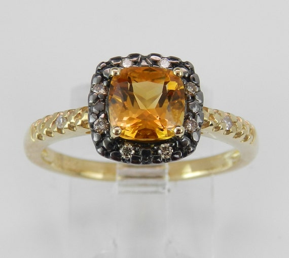 Citrine and Fancy Diamond Halo Engagement Promise Ring Yellow Gold Size 7 November Birthstone