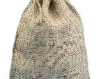 "SET of (6) Natural Burlap Sack 8x12"" with Drawstring, Country Primitive Craft Supply, Rustic Barn Wedding Decor"