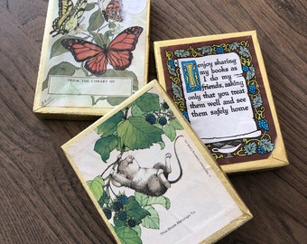 Vintage Antioch Bookplates, 3 sets lot, butterflies, mouse, sharing