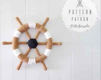 CROCHET PATTERN #004---Crochet boat helm nautical wall decoration