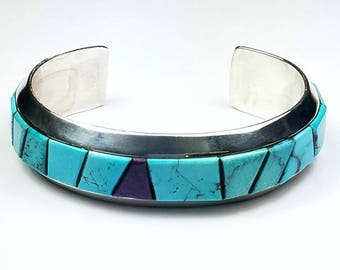 Native American Navajo handmade Sterling Silver Turquoise and Sugilite inlay cuff bracelet