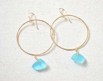 Sea Glass Hoop Earrings, Gold Hoop Earrings, Wire Hoops, Aqua Sea Glass Earrings