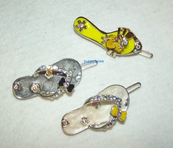 Puppy Bows ~ Rhinestone enamel cute summer sandal hair  barrette ~ US Seller