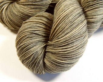 Hand Dyed Yarn, Sock Weight 4 Ply Superwash Merino Wool - Driftwood - Indie Dyed Knitting Yarn, Tonal Sock Yarn, Tan, Neutral