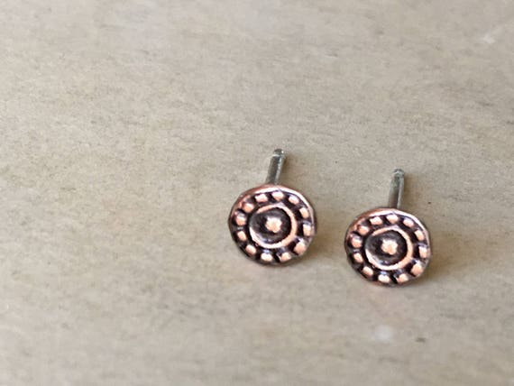Small Copper Earrings, Copper Studs, Mens Earrings, Teeny Tiny