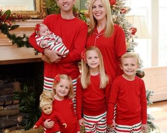 Christmas Pajamas, Christmas Stripe Pajamas, Christmas Stripe, Christmas PJs, Matching PJs, Family PJs, Pajamas, Christmas Gown, Sibling