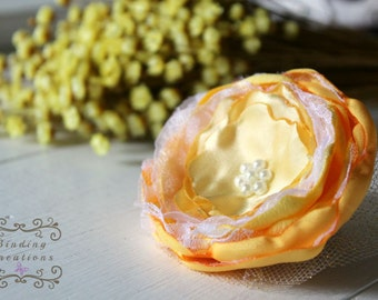 "Couture fabric flower ""Evelyn"" in yellow: women's hair flower clip wedding flower, photo prop, baby headband,newborn pictures, girls hair"